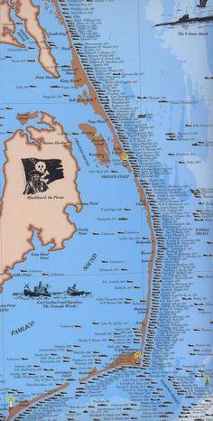 Map of Shipwrecks off the Coast of North Carolina Coastal North Carolina, Outer Banks North Carolina, North Carolina Beaches, Outer Banks Nc, North Carolina Homes, South Carolina, Places To Travel, Places To See, Treasure Coast