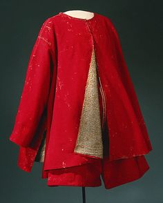1640s loose jacket (kassack) in scarlet broadcloth and gold brocade.  Worn by King of Sweden Karl X Gustav (1622-1660)