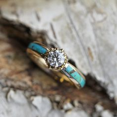 Moissanite Engagement Ring in Yellow Gold Lotus Flower with Turquoise