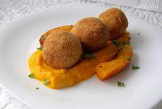 Smažené koule z uzeného masa s dýní - Recept Sweet Potato, Good Food, Potatoes, Vegetables, Hokkaido, Potato, Vegetable Recipes, Healthy Food, Veggies