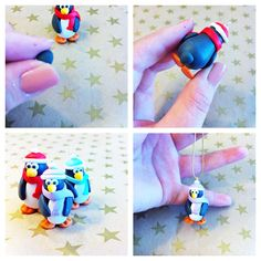 Sculpey Clay Tutorial: Penguin Christmas Ornaments - #art, #diy