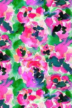 Abstract Flora by mjmstudio - Abstract watercolor loosely inspired by natural forms of flowers and foliage. - Colorful watercolor on fabric, wallpaper, and gift wrap.