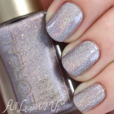 L'Oréal Dark Sides of Grey Masked Affair Nail Swatches and Review L'OREAL HOLO!!!!!  Probably sold out, but look for it!