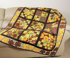 Annabella Lap Quilt or Sofa Throw  Golden by QuiltSewPieceful