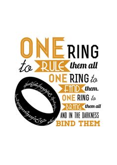 The One Ring - The Lord of the Rings Typography Art Print