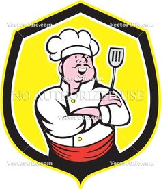 artwork, cartoon, chef, cook, crest, food worker, graphic, hat, holding, illustration, isolated, male, man, shield, spatula, worker