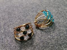 Ring with sparkling crystal beads - DIY wire jewelry 170