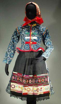 RARE Slovak Folk Costume Vazec Indigo Blueprint Linen Skirt Jacket Apron Ethnic | eBay