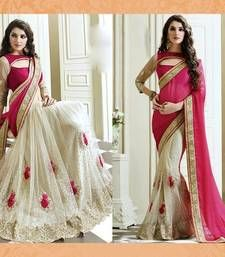 Buy Pink embroidered net saree with blouse half-saree online