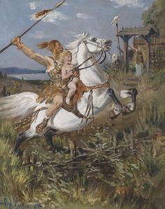 A Hun Riding by Johannes Gehrts 1885