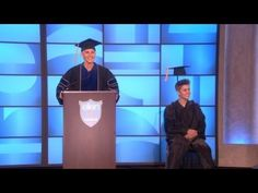 Justin Bieber graduates on Ellen.  She is so great and funny. I kept this since I like Ellen it just happens to have Justin in it.