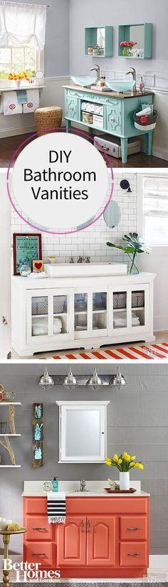 Instead of buying a new bathroom vanity, DIY it! We have a ton of ideas for flea market finds or salvaged pieces that need just a little bit of paint to transform them into unique bathroom vanities. Use an old dining room buffet or paint an oak vanity with a bright color of paint for a completely new piece.