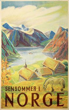 Original vintage poster: Norway - Sensommer i Norge for sale at posterteam.com by Leif Henstad / Lindquist