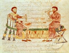Possibly the earliest illustration of eating with a fork , from Chapter 1 De Mensis et Escis, Book 22, 11th century manuscript from Benevento, Italy