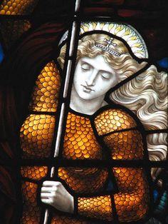 Joan of Arc, in armor; St. Peter's Episcopal Church of Albany, Photo by David Hinchen