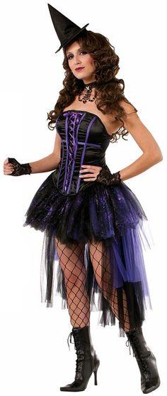 Forum Novelties Women's Halloween Couture Willow Witch Costume, Black/Purple, Medium/Large