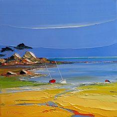 Art Plage, Boat Art, Landscape Artwork, Art For Art Sake, Seascape Paintings, Acrylic Art, Painting Inspiration, Art Photography, Abstract Art