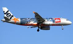 Jetstar in the 'Quiksilver' livery at Adelaide Airport.