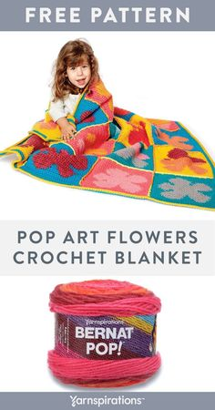 Free Pop Art Flowers Crochet Blanket pattern using Bernat Super Value and Bernat Pop! yarns. Create something spectacularly colorful by combining tried and true Bernat Super Value with self-striping Bernat Pop! This blanket is fun to make and can easily be machine washed. Making this colorful blanket a keepsake! #yarnspirations #freecrochetpattern #crochetthrow #crochetblanket #crochetafghan #BernatYarn #BernatSuperValue #BernatPop Afghan Patterns, Crochet Blanket Patterns, Knitting Patterns Free, Crochet Blankets, Knit Or Crochet, Crochet Stitches, Crochet Hooks, Free Crochet, Bernat Pop