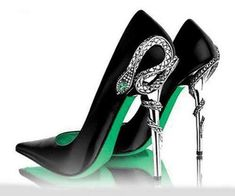 shoes pumps green snake slytherin harry potter silver pointed toe black black heels pointed toe pumps / for @samiam1126