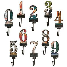 10 Piece Number Wall Hook Set