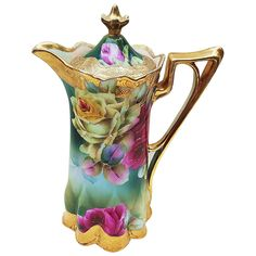 """Vintage Nippon Hand Painted Vibrant """"Red & Yellow Roses"""" Chocolate Pot with Brilliant Gold Gilding Vintage Cups, Vintage Dishes, Vintage Tea, Tea Pot Set, Tea Sets, Teapots And Cups, Teacups, Red And Yellow Roses, Sipping Tea"""