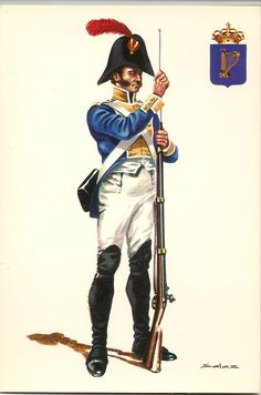 This appears to be a darker blue for the coatee than is normally showed. Most illustrations are closer to a sky blue. Army Uniform, Men In Uniform, Military Uniforms, Military Art, Military History, The Wild Geese, Swedish Army, Napoleonic Wars, Empire
