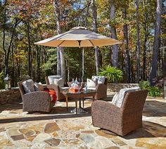Palmetto Swivel Chairs, Round Cocktail Table And Umbrella, Available To  Order From The Tin