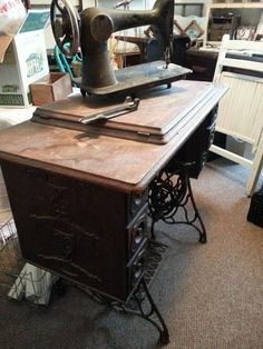 repurposed sewing machine table to vanity, painted furniture, repurposing upcycling