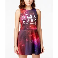 Juniors' Star Wars Galaxy Printed Fit-and-Flare Dress from Mighty Fine ($25) ❤ liked on Polyvore featuring dresses, purple, galaxy print dress, fit and flare dress, fit & flare dress, cosmic dress and purple galaxy dress