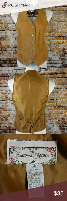 """Vintage Suede Leather Best Cool Vintage tan vest. Snaps down the front,  2 pockets 17.5"""" across chest lying flat, 23"""" long  Has a pin head ink mark just under the right pocket. Jonathan Martin  Jackets & Coats Vests"""