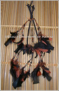 7 inch Tear-Drop Shape Black Leather Wrap/Brown with Sienna Hoop Dream Catcher - $45.00 - Handmade Speciality / Traditional, Crafts and Unique Gifts by Ekolu Creations of Hawaii