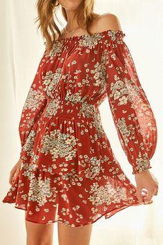 UO Saffron Skies Off-The-Shoulder Dress