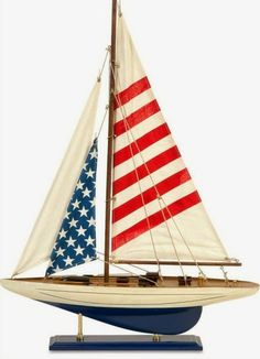 This model sailboat would make a great centerpiece for a Fourth of July celebration! #sailboat #happyfourthofjuly