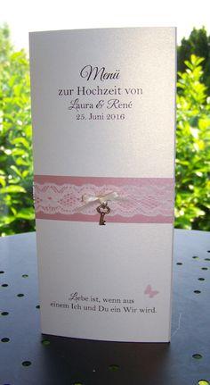 Menükarte Aufsteller Vintage Spitze misty rose Kartenmanufaktur Arndt