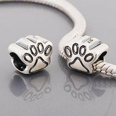 .925 Authentic Sterling Silver Pandora Style Bead Cat Paw / Dog Paw #Charm $14.99