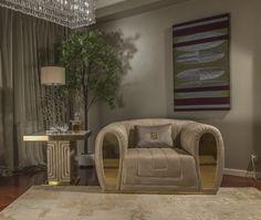 Luxurious Interiors - Rare Handcrafts by Fertini Casa. Living Room Sofa Design, Living Room Designs, Sofa Furniture, Luxury Furniture, Furniture Design, Curved Sofa, Fabric Armchairs, Luxury Sofa, Italian Furniture