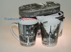 Frankreich Marche - Prozellan Tassen (2 Stck.) - Motiv Paris mit Geschenkbox