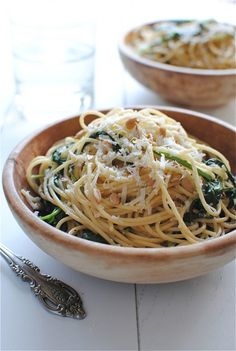 Spaghetti with Kale and Lemon. I make this without the parmesan and use Daiya vegan cheese and a bit of chili, and extra garlic, and it is delicious!