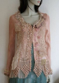 RESERVED for Leslie--Rose sorbet-- artful reworked vintage cardi with antique lace, hand embroidered, bohemian romantic Shabby Chic Outfits, Ropa Shabby Chic, Vintage Outfits, Bohemian Mode, Bohemian Style, Boho Chic, Altered Couture, Antique Lace, Vintage Lace
