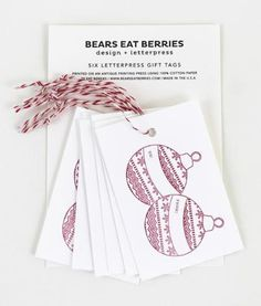 You'll never go back to ordinary gift tags after seeing this beautiful set from Bears Eat Berries. $6