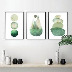 Scandinavian Wall Decor, Scandinavian Style, Green Wall Art, Green Art, Plant Painting, Africa Art, Mid Century Modern Art, Wall Art Sets, Pictures To Paint