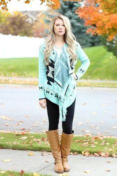 Mint Tribal Fringe Cardigan Sweater
