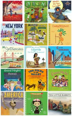 Board Books about North and South America. Perfect multicultural books for families and preschools who want to introduce cultural awareness. Introduce your baby or toddler to world cultures :) Toddler Books, Childrens Books, Baby Books, Preschool Curriculum, Preschool Books, Homeschooling, Kindergarten, America Memes, Global Citizen