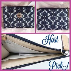 "Host Pick Peyton Dream C Medium Skinny Silver/Denim/Tan Dream C print coated canvas with leather trim. Zip closure. Outside has 2 open pockets. Key chain.  5 3/4"" (L) x 4"" (H) Coach Bags"