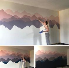 home cartoon Abstract hombre mountains art wall Abstrakte hombre Gebirgskunstwand Decor Room, Diy Home Decor, Bedroom Decor, Wall Decor, Diy Wall, Bedroom Ideas, Room Wall Painting, Wall Art, Art Mural