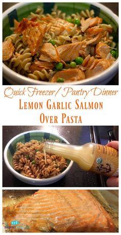 Quick Freezer/Pantry Dinner: Lemon Garlic Salmon Over Pasta #AD @tessemaes09 #savorsummer #TasteWhatMatters  | The Mama Maven Blog