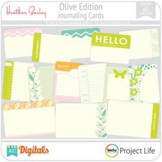 Designed by Heather Bailey in lovely florals, swirls, and butterflies with a mix of geometric patterns, this collection is truly unique and gorgeous. Printable Designs, Printables, Digital Project Life, Heather Bailey, Layout Inspiration, Journal Cards, Swirls, Journaling, Floral
