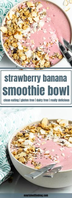 A healthy Strawberry Banana Smoothie Bowl recipe made with coconut milk, oats, honey and a secret ingredient - cauliflower - that blends up in minutes! Smoothie Bowl Vegan, Smoothies Vegan, Smoothie Fruit, Strawberry Banana Smoothie, Healthy Breakfast Smoothies, Easy Smoothies, Strawberry Breakfast, Healthy Strawberry Recipes Clean Eating, Pink Smoothie Recipe