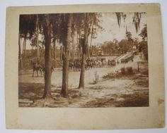 Cavalry at Lakeland, Florida [long file of mounted troops, a hearse? being towed] (Published: 1898 Lakeland, FL) Vintage Maps, Antique Maps, Vintage Prints, Vintage Florida, Old Florida, Lakeland Florida, Past, History, Antiques
